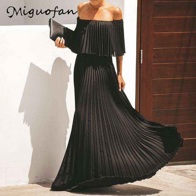 Miguofan Off Shoulder Chiffon Summer Dresses Women Ruffle Pleated Long Dress Pink Elegant Loose Holiday Beach Dress Female 2019