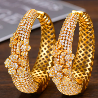 GODKI Luxury Hollow Flowers Cubic Zirconia Statement Big Hoops Earrings For Women Wedding DUBAI Bridal Round Circle Hoop Earring