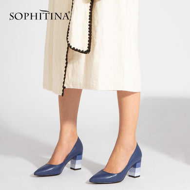 SOPHITINA 2019 New Spring Pumps Fashion High Square Heel Sheepskin Pointed Toe Slip-on Casual Shoes Handmade Shallow Pumps A85