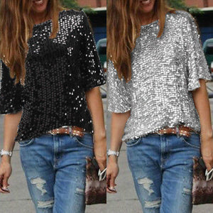 2019 New Arrival Fashion Ladies Elegant Silk Blouses Skew Collar Hot Half Sleeve Casual Sequin Shirts Casual Slim Brand Tops - Y O L O Fashion Store