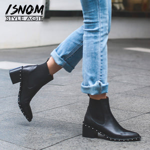 2020 Latest Rivet Chelsea Boot Women Ankle Boots Winter Booties Genuine Leather Women's High Square Heel Shoes Female Footwear - Y O L O Fashion Store