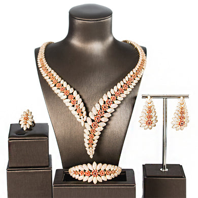 Flower Boom Women Wedding Bride Cubic Zirconia Necklace Earring Dubai Jewelry Set Jewellery Addiction - Y O L O Fashion Store