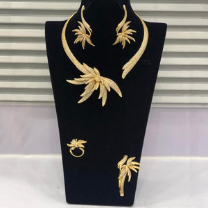 GODKI Luxury Palm Tree Leaf Nigerian Choker Jewelry sets For Women Wedding Cubic Zircon CZ Dubai Gold Bridal Jewelry Set 2019 - Y O L O Fashion Store
