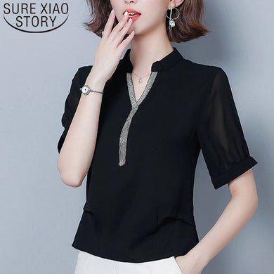 Blusas mujer de moda 2019 shirts women ladies tops chiffon blouse for women tops plus size V-Neck Solid short Tassel 4662 50