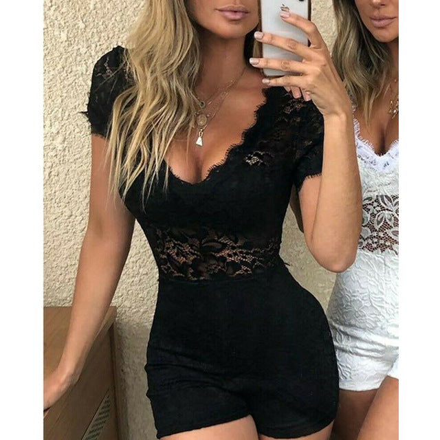 Sexy Women Floral Lace Playsuit Jumpsuit Summer Sexy V Neck Short Sleeve Slim Playsuits Rompers Lady Chic Party Bodycon Leotard