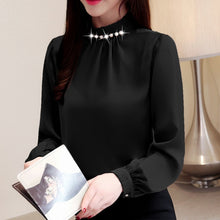 Load image into Gallery viewer, Fashion womens tops and blouses beading stand collar office blouse women chiffon blouse shirt long sleeve women shirts 2553 50