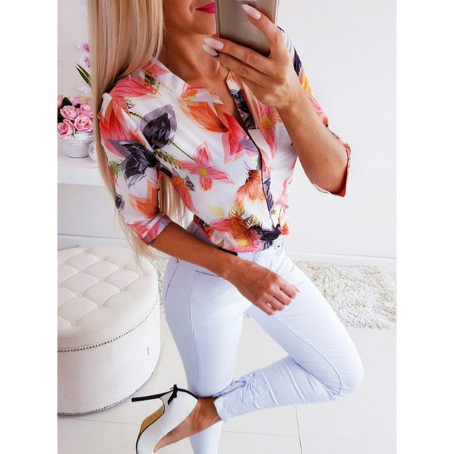 Women Long Half Sleeve Loose Shirts Shirt OL Clothes Plain Casual Button Blouse Office Lady Summer Chiffon Shirts - Y O L O Fashion Store