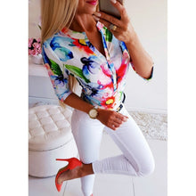 Load image into Gallery viewer, Women Long Half Sleeve Loose Shirts Shirt OL Clothes Plain Casual Button Blouse Office Lady Summer Chiffon Shirts - Y O L O Fashion Store
