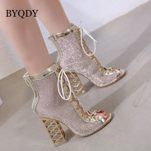 BYQDY Summer Sandal Sexy Golden Bling Gladiator Sandals Women Pumps Shoes Lace-Up High Heels Sandals Boots Gold botines Discount - Y O L O Fashion Store