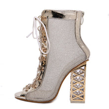 Load image into Gallery viewer, BYQDY Summer Sandal Sexy Golden Bling Gladiator Sandals Women Pumps Shoes Lace-Up High Heels Sandals Boots Gold botines Discount - Y O L O Fashion Store