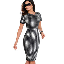 Load image into Gallery viewer, Nice-forever Women Vintage Wear to Work Elegant vestidos Business Party Bodycon Sheath  Office Ruffle Female Dress B452
