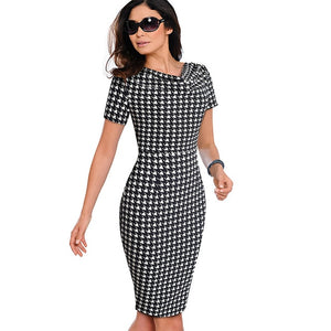 Nice-forever Women Vintage Wear to Work Elegant vestidos Business Party Bodycon Sheath  Office Ruffle Female Dress B452