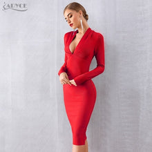 Load image into Gallery viewer, ADYCE 2019 New Winter Women Bandage Dress Vestidos Sexy Deep V Long Sleeve Bodycon Club Dress Midi Celebrity Evening Party Dress - Y O L O Fashion Store