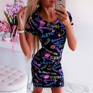 New Arrival 2019 Summer Dresses Sexy Slim Bodycon Pencil Mini Party Dresses Women Short Sleeve Letter Butterfly 3D Printed Dress
