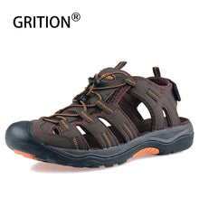 Load image into Gallery viewer, GRITION Men Sandals Summer Beach Outdoor Walking Trekking Flat Shoes Casual Male Leather Sandalias 2019 Big Size Lazy Gladiator
