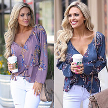 Load image into Gallery viewer, 2019 Womens V-neck Tops Loose Long Sleeve Shirt Casual Blouse Floral Tops Shirts Casual Chiffon Autumn Spring Soft Clothing