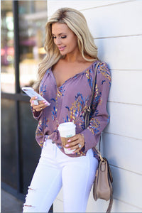 2019 Womens V-neck Tops Loose Long Sleeve Shirt Casual Blouse Floral Tops Shirts Casual Chiffon Autumn Spring Soft Clothing