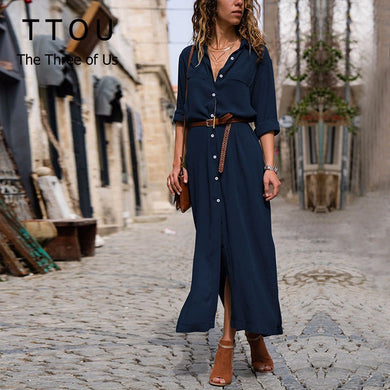 TTOU Vestido Button Women Dress 2018 Turn-down Casual Vadim Winter Dress Long Sleeve Sides Split Long Autumn Dress Befree Robe