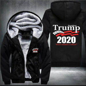 Drop shipping President Trump 2020 keep america great Man's Design Male Jacket Thicken Fleece US Size