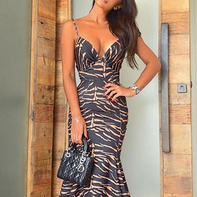 2019 Women Elegant Spaghetti Strap V-Neck Cocktail Midi Party Dress Abstract Print Ruched Plunge Pep Hem Fishtail Bodycon Dress