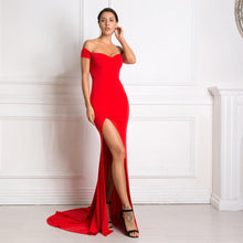 Load image into Gallery viewer, 2019 Sexy Off the Shoulder Slash Neck Mermaid Maxi Dress Bodycon Split Red Backless Long Dress Black Floor Length Club Dress - Y O L O Fashion Store