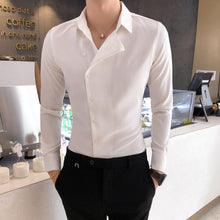 Load image into Gallery viewer, British Style Business Men Dress Shirt Fashion Partial Threshold Shirt Men Long Sleeve Formal Wear Striped Shirt For Men Tuxedo - Y O L O Fashion Store