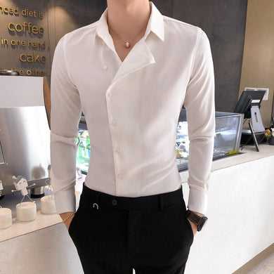 British Style Business Men Dress Shirt Fashion Partial Threshold Shirt Men Long Sleeve Formal Wear Striped Shirt For Men Tuxedo - Y O L O Fashion Store