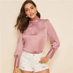 SHEIN Pink Stand Collar Button Keyhole Satin Blouse Elegant Top Women Spring Autumn Long Sleeve Solid Office Ladies Blouses