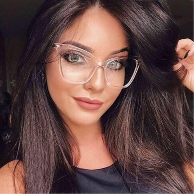 Retro glasses frame women cat eye eyeglasses Large transparent clear eye glasses frames for women 2019 metal leg - Y O L O Fashion Store