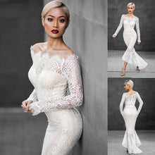 Load image into Gallery viewer, Uguest 2019 Sexy Women White Lace Dress Mermaid One-shoulder Long Sleeve Autumn Spring Party Long Elegant  Dresses Vestido - Y O L O Fashion Store