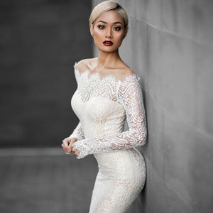 Uguest 2019 Sexy Women White Lace Dress Mermaid One-shoulder Long Sleeve Autumn Spring Party Long Elegant  Dresses Vestido - Y O L O Fashion Store
