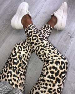 Fashion Casual Womens Ladies Skinny Leopard Snake Animal Print High Waist Stretchy Leggings