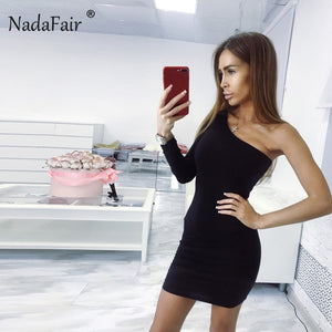 Nadafair One Shoulder Sexy Club Party Bodycon Dress Summer Women Long Sleeve Stretchy Black White Casual Wrap Mini Dress Red