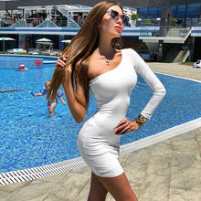 Load image into Gallery viewer, Nadafair One Shoulder Sexy Club Party Bodycon Dress Summer Women Long Sleeve Stretchy Black White Casual Wrap Mini Dress Red
