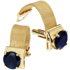 HAWSON Mens Cufflinks with Chain - Stone and Shiny Gold Tone Shirt Accessories - Party Gifts for Young Men - Y O L O Fashion Store
