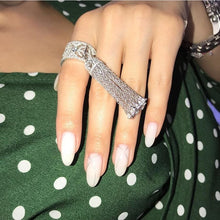 Load image into Gallery viewer, Luxury KO Design 925 Sterling Silver Tassel Finger Ring Hollow Women Elegant Sun Star Tassel Wedding Jewelry Fine Jewelry