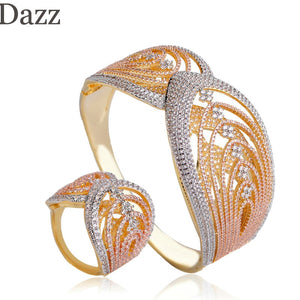 Dazz Gorgeous Two Layers Texture Design Wide Bangle Ring Three Tones Colors Full Zircon Sets Women Bridal Banquet Copper Jewelry - Y O L O Fashion Store