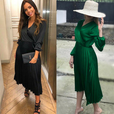 2019 New Women's Three Quarter Sleeve High Low Cocktail Party Dress Maxi Long Dress party dresses robe femme