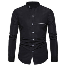 Load image into Gallery viewer, Mandarin Collar Men Shirt Solid Long Sleeve Casual Shirts Business Social White Dress Plus Size Camisas Cotton Men's Top Clothes