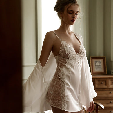 High-grade Embroidered Lace Sexy Lingerie Strap Nightdress Perspective Sleepwear Women Night Gown Nightgowns Women Nightwear - Y O L O Fashion Store
