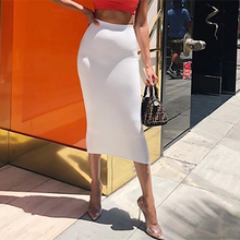 Load image into Gallery viewer, Colysmo Double Layers High Waist Pencil Midi Skirt Bodycon Long Skirt Cotton Maxi Skirt White Summer Skirts Womens Saia Midi New