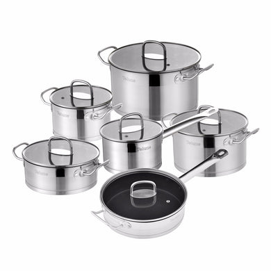 Velaze Cookware Set 12 Piece Stainless Steel Kitchen Cooking Pot&Pan Sets, Induction,Saucepan,Casserole,with Tempered Glass lid