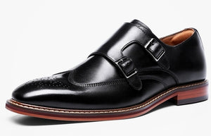 DESAI Monk Strap Slip on Genuine Leather Shoe Business Handmade Dress Brogue Shoes for Men with Buckle 2019