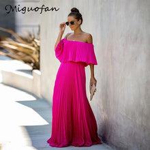 Load image into Gallery viewer, Miguofan Off Shoulder Chiffon Summer Dresses Women Ruffle Pleated Long Dress Pink Elegant Loose Holiday Beach Dress Female 2019
