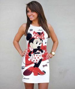 Mickey Bodycon Dress Women Summer Dress Vestidos Minnie Sexy Ladies Vintage Party Dresses Clothes 2019