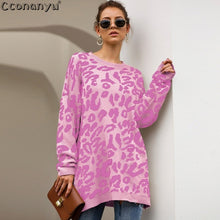 Load image into Gallery viewer, 2019 Autumn winter clothing ladies long sweater fashion womens loose pullovers and sweaters leopard print knitted sweater - Y O L O Fashion Store