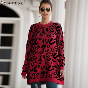 2019 Autumn winter clothing ladies long sweater fashion womens loose pullovers and sweaters leopard print knitted sweater - Y O L O Fashion Store
