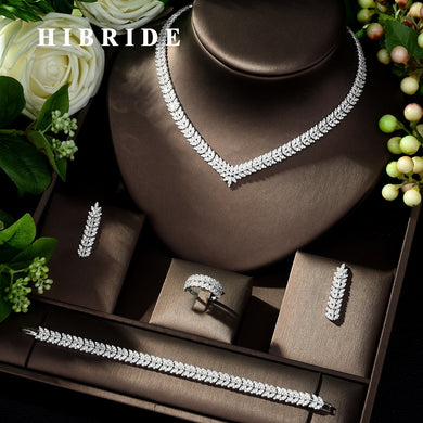 HIBRIDE New luxury Zircon Micro Pave Set Necklace Earrings Bracelet four-piece Women Weeding Jewelry Set Bijoux Femme N-223 - Y O L O Fashion Store