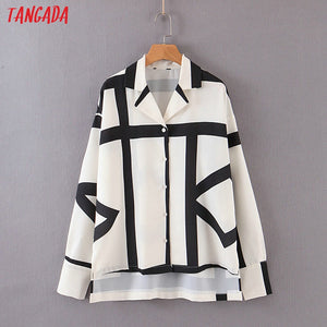 Tangada women striped print blouse shirts long sleeve 2019 atumn office lady work shirt elegant vintage tops DT27