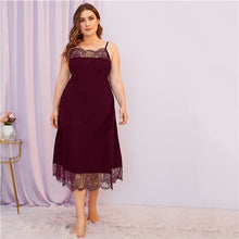 Load image into Gallery viewer, SHEIN Plus Size Contrast Lace Spaghetti Strap Night Dresses Women Nightwear 2019 Autumn Solid Scallop Hem Sexy Cami Sleepwear - Y O L O Fashion Store